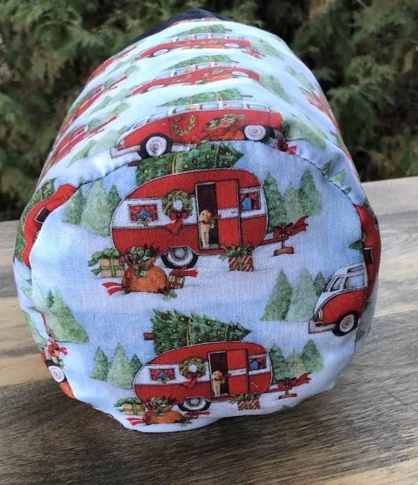 Christmas Camping SueBee Round Drawstring Bag