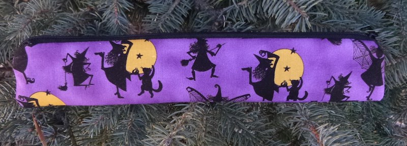 Witches and Cats low profile case to carry a reusable straw, The Skinny Strawz