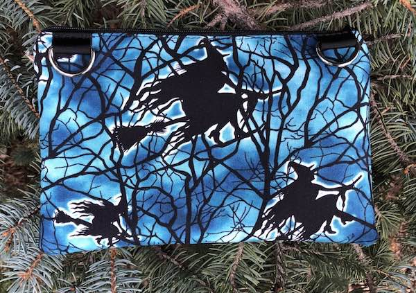Witches Flight clutch, smart phone wallet, mini shoulder bag, up to iPhone 8 Plus wallet, The Wisteria - glow in the dark