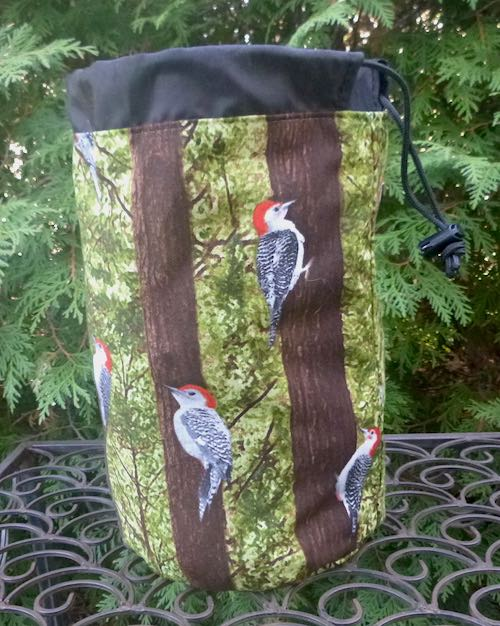 Woodpecker SueBee Round Drawstring Bag