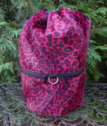 Red Leopard faux fur knitting project bag, large Kipster