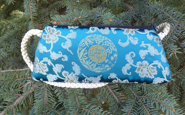 Asian teal brocade evening bag clutch wristlet shoulder bag, Bebe-CLEARANCE