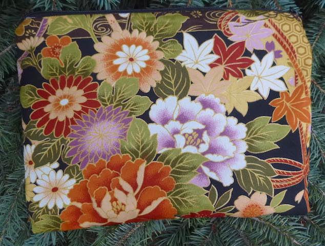 Asian Floral Slide Mahjongg card and coin purse