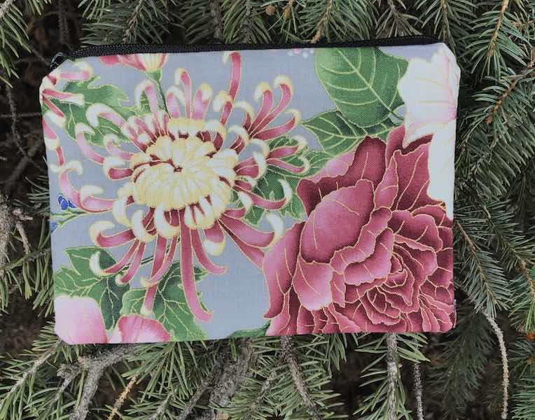 Asian Floral on gray Goldie zippered bag