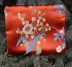 Asian Floral on Orange zippered bag, The Scooter
