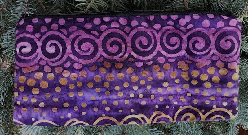"""Scroll Stripe Batik pouch for 8"""" knitting needles or reusable utensils, The Deep Sleek"""