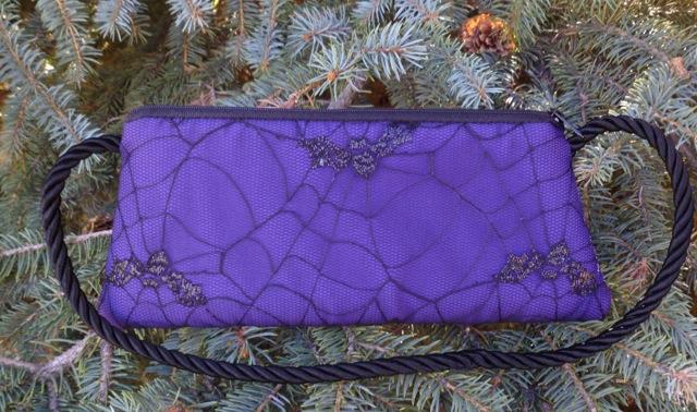 Bats on purple evening bag clutch wristlet shoulder bag, Bebe-CLEARANCE