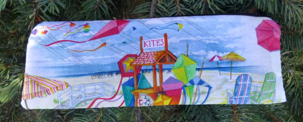 Beach Kites pen and pencil case, crochet hook pouch, The Scribe
