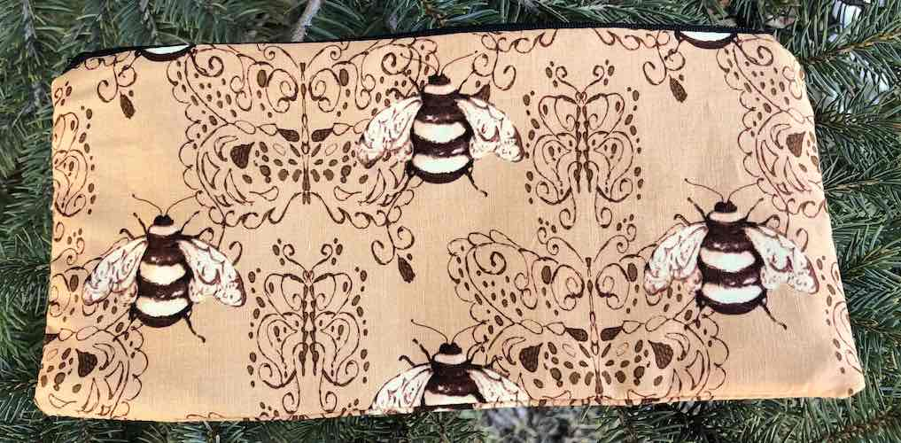 "Bees pouch for 8"" knitting needles or reusable utensils, The Deep Sleek"