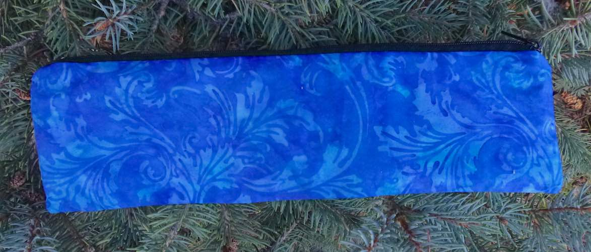 Blue Batik Ferns case to carry paper or reusable straws, The Strawz
