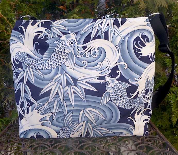 Blue Koi Britta large zippered cross body purse