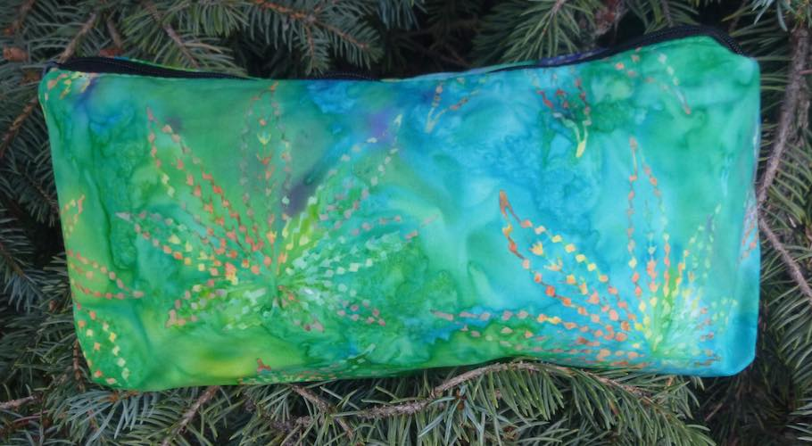 Marijuana Leaf batik multi-colored flat bottom bag, The Zini