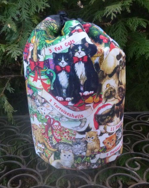 12 Cats of Christmas SueBee Round Drawstring Bag