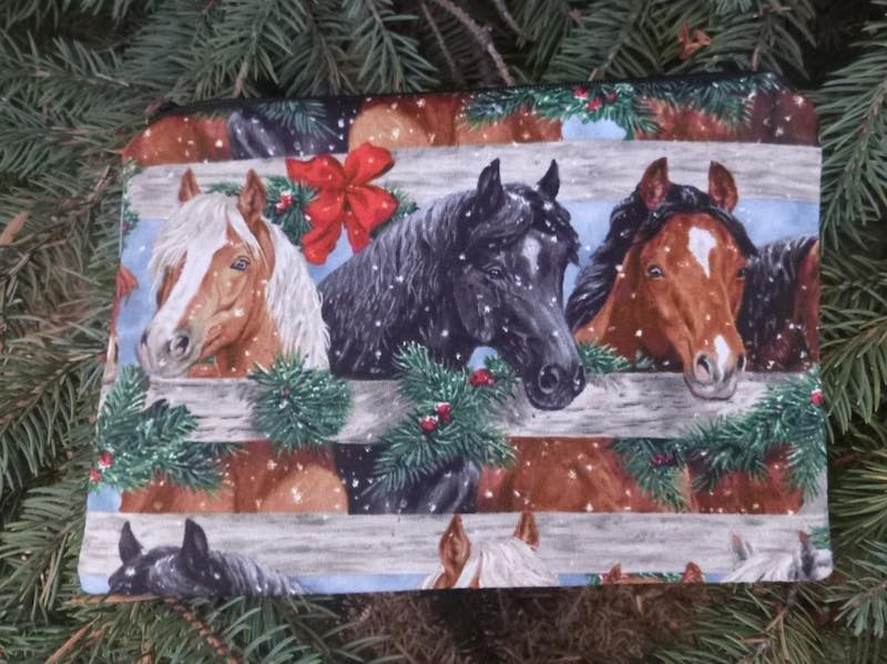 Christmas Horses zippered bag, The Scooter