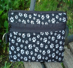 Dog Paws on Black Sweet Pea Mini Wallet Purse Organizer