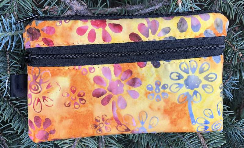 Daisy Batik Yellow and Orange or Mini Wallet Purse Organizer, iPhone wallet, The Sweet Pea