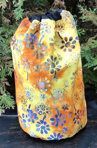 Daisy Batik in orange and yellow drawstring bag, The Large Suebee