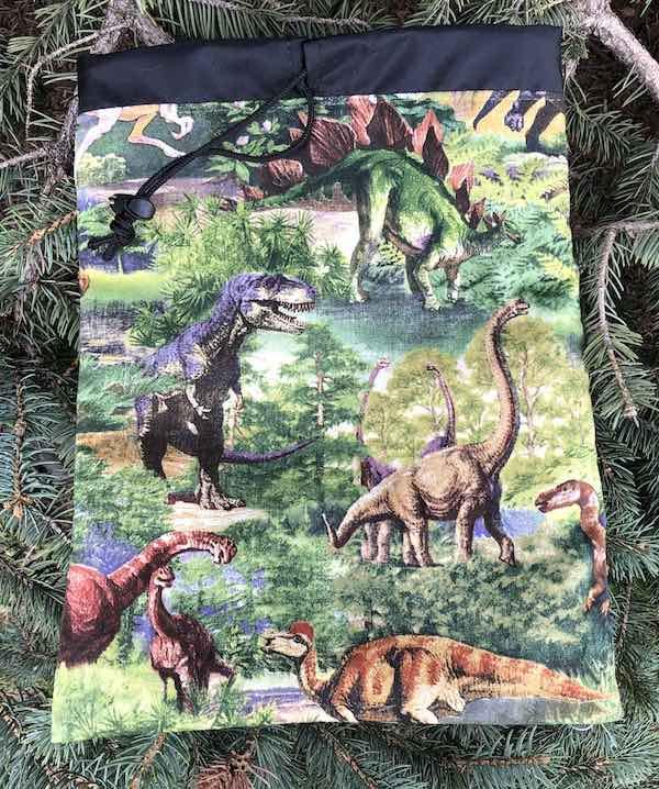 Dinosaurs Flatie Jr. a flat drawstring bag