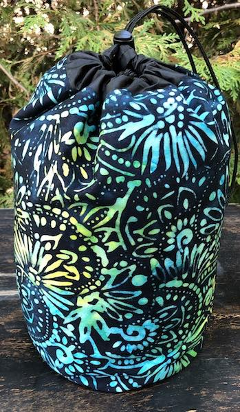 Discs and Flowers Batik SueBee Round Drawstring Bag