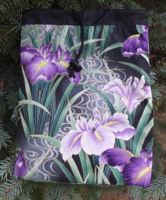 Japanese Iris Flatie Jr. a flat drawstring bag