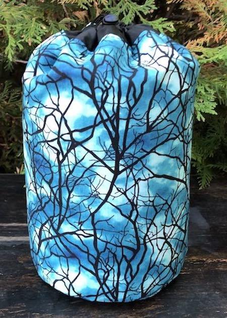 Glow in the Dark Trees SueBee Round Drawstring Bag