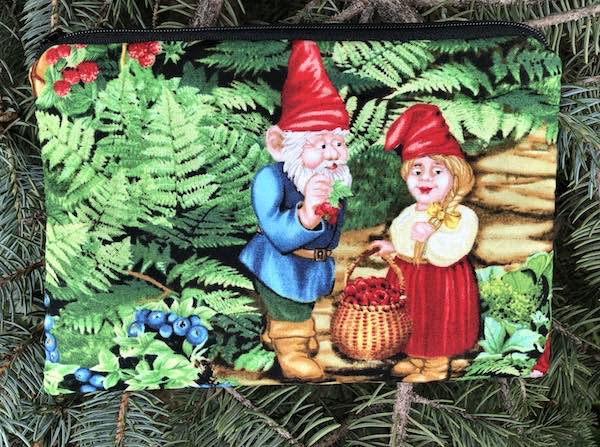 Gnome Berrying Goldie zippered bag