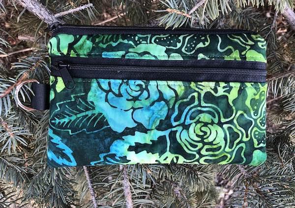 Green Floral Batik Mini Wallet Purse Organizer, iPhone wallet, The Sweet Pea