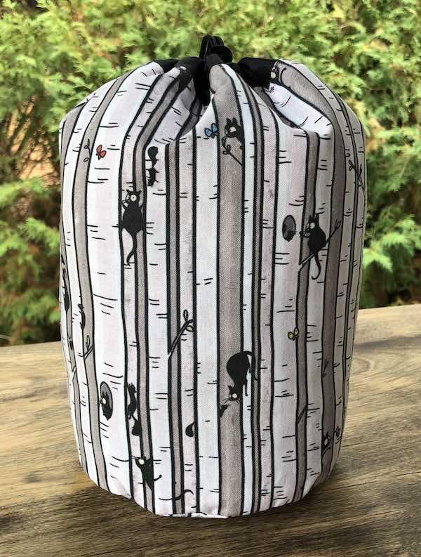 Happy Kitty Treed SueBee Round Drawstring Bag