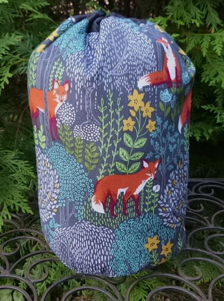 Into the Woods Foxes SueBee Round Drawstring Bag