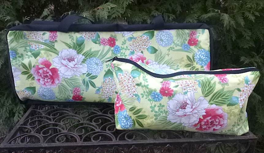 Japanese peonies on yellow Mahjong storage set, The Zippered Tote-ster and Large Zini