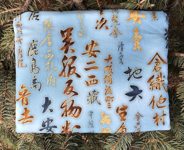 Kanji on Blue Mahjongg card and coin purse, The Slide