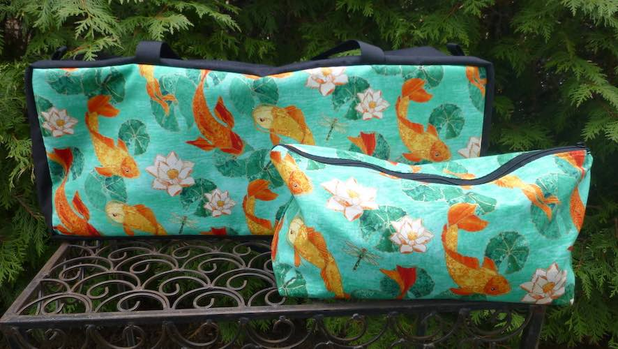 Koi Pond Mahjongg Storage Set The Zippered Tote-ster and Large Zini