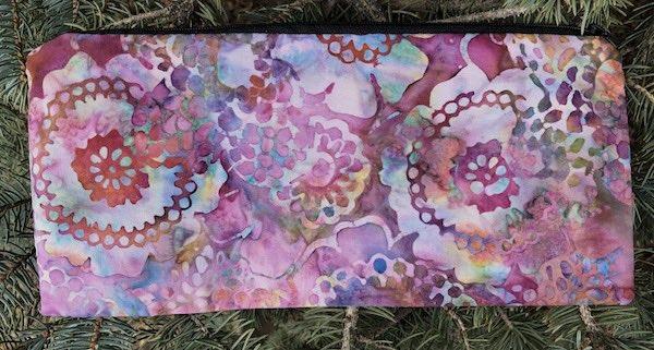 "Lacy Flowers Batik pouch for 8"" knitting needles or reusable utensils, The Deep Sleek"