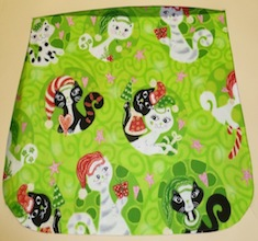 Mod Christmas kitties on green Pick your Size Morphin Messenger Bag Flap