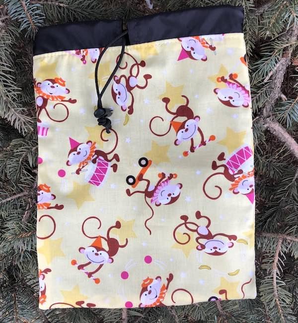 Monkey Party Flatie Jr. a flat drawstring bag