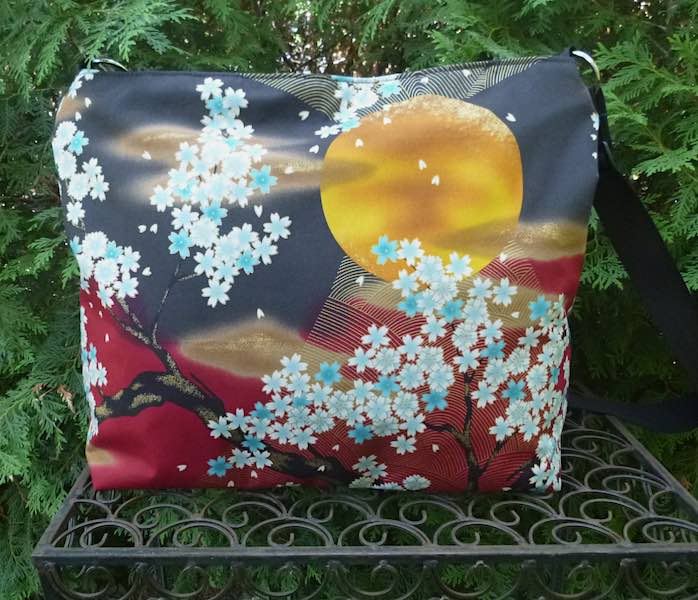 Moon and Cherry Blossoms Britta large zippered cross body purse