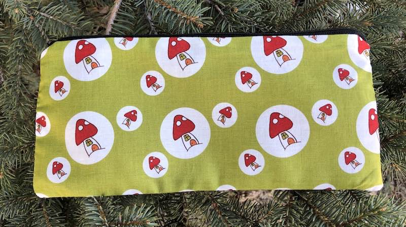 "Mushroom Houses pouch for 8"" knitting needles or reusable utensils, The Deep Sleek"