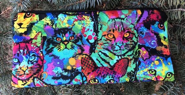 """Painted Cats pouch for 8"""" knitting needles or reusable utensils, The Deep Sleek"""