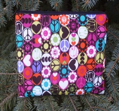 Peace buttons padded case for Kindle 3rd Gen Fire, Touch 2nd Gen Nook, The Elm