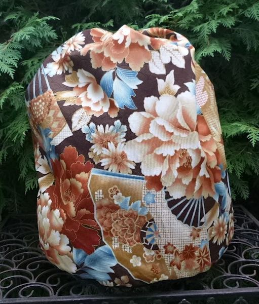 Peonies and Fans in brown, Alpaca Large Knitting Bag