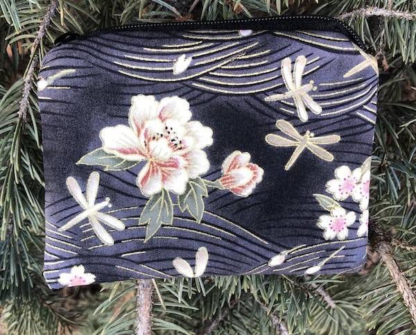Peonies and Dragonflies Coin Purse, The Raven, pick your color