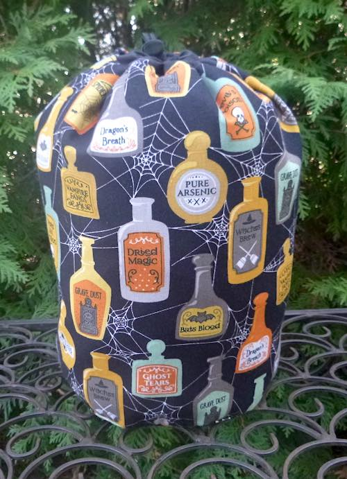 Witches Potions SueBee Round Drawstring Bag