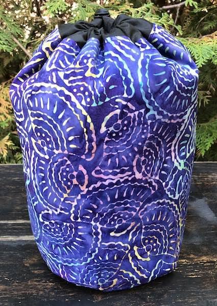 Purple Fans Batik SueBee Round Drawstring Bag