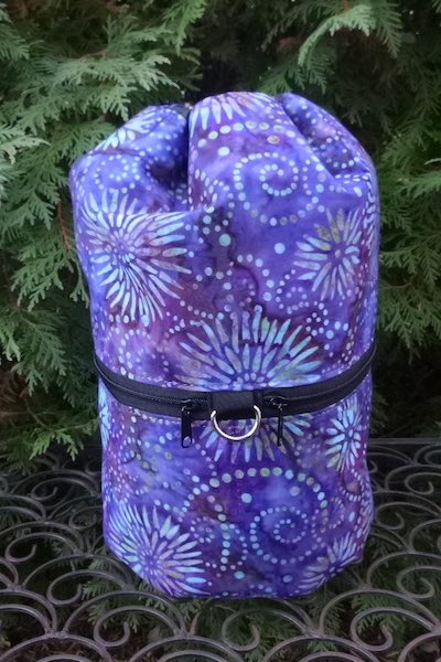 Purple Sunburst Batik knitting project bag, large Kipster