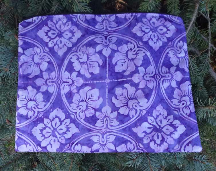 Purple Tile Batik Zippered Portfolio, The Pippa