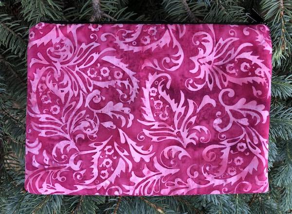 Raspberry Scroll Batik zippered bag, The Scooter