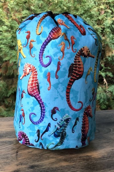 Seahorses SueBee Round Drawstring Bag