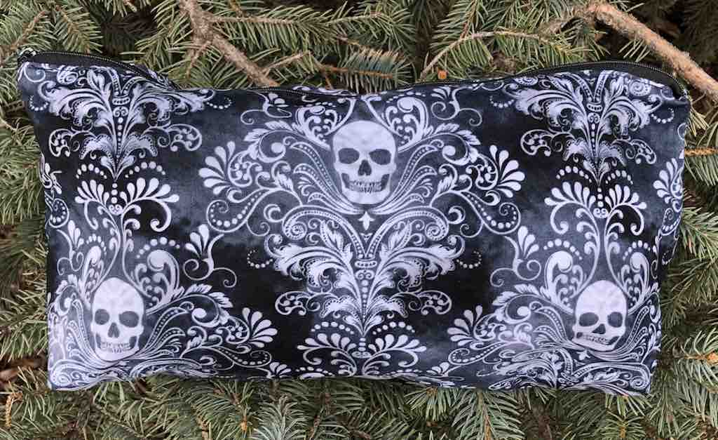 Skull Damask Large Zini Flat Bottom Bag