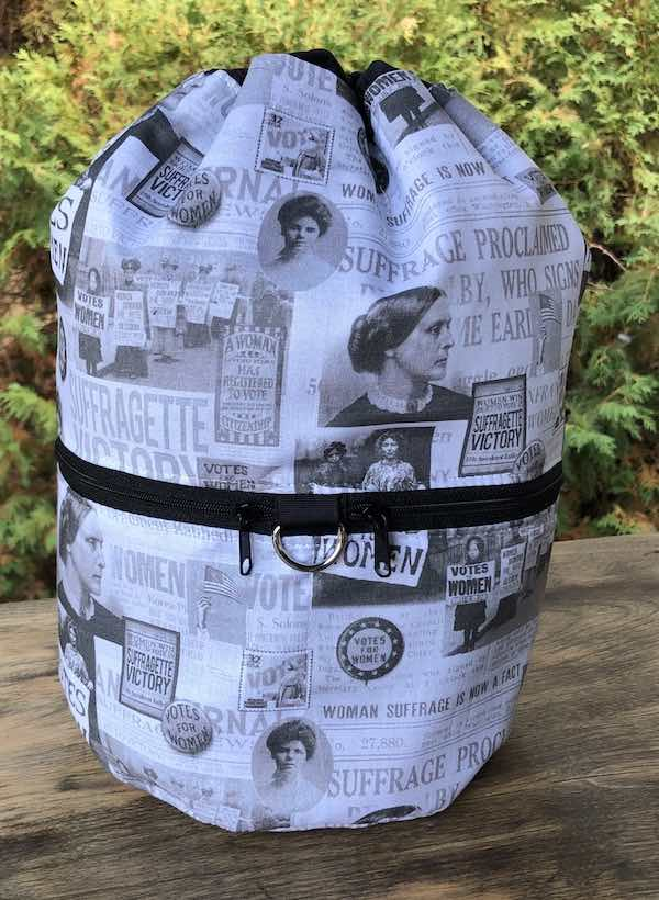 Suffragette Victory knitting project bag, large Kipster -  celebrating 100 year anniversary of the 19th Amendment, women's voting rights