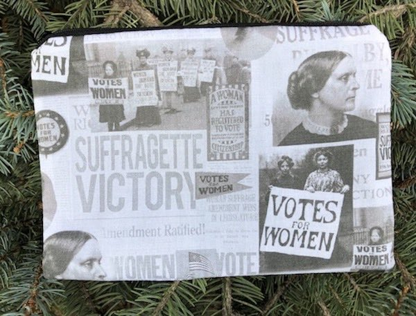 Suffragette victory zippered bag, The Scooter - celebrating 100 year anniversary of the 19th Amendment, women's voting rights
